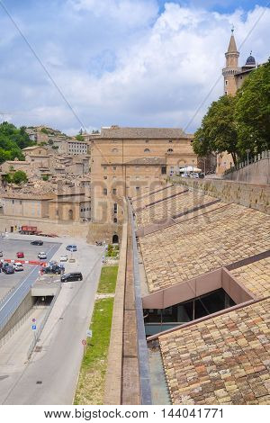 Urbino, Italy - August, 1, 2016: wall of Palazzo Ducale in Urbino, Italy Palazzo Ducale