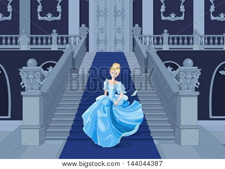 Illustration of Cinderella runs away
