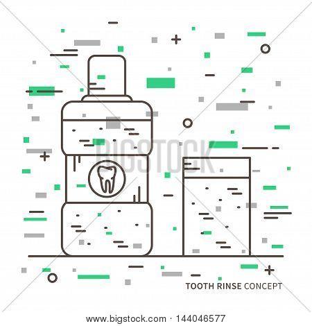 Dental Tooth Rinse Linear Vector Illustration