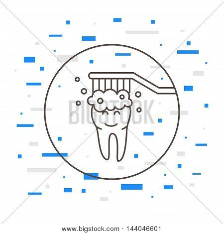 Dental Tooth Cleaning Washing Linear Vector Illustration