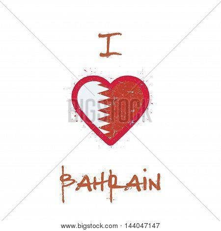 I Love Bahrain T-shirt Design. Bahraini Flag In The Shape Of Heart On White Background. Grunge Vecto