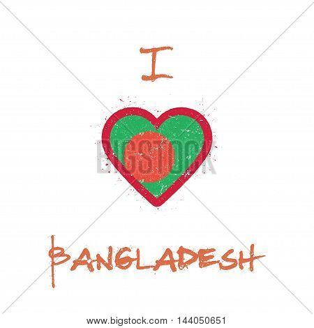 I Love Bangladesh T-shirt Design. Bangladeshi Flag In The Shape Of Heart On White Background. Grunge