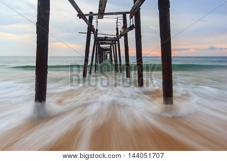 Wooden fisherman bridge at Pang-nga Province Thailand