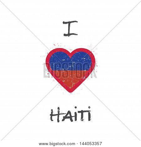 I Love Haiti T-shirt Design. Haitian Flag In The Shape Of Heart On White Background. Grunge Vector I