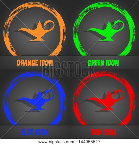 Alladin Lamp Genie Icon. Fashionable Modern Style. In The Orange, Green, Blue, Red Design. Vector