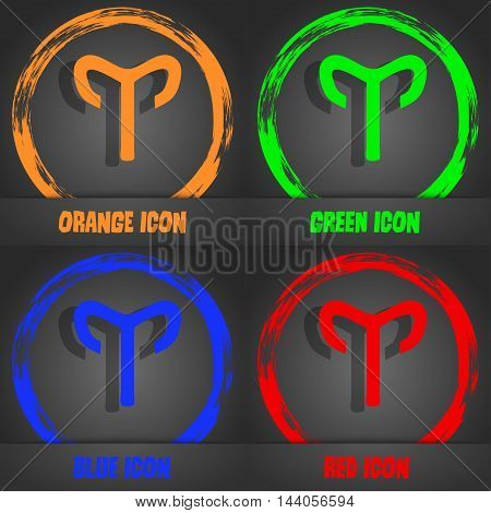 Decorative Zodiac Aries Icon. Fashionable Modern Style. In The Orange, Green, Blue, Red Design. Vect