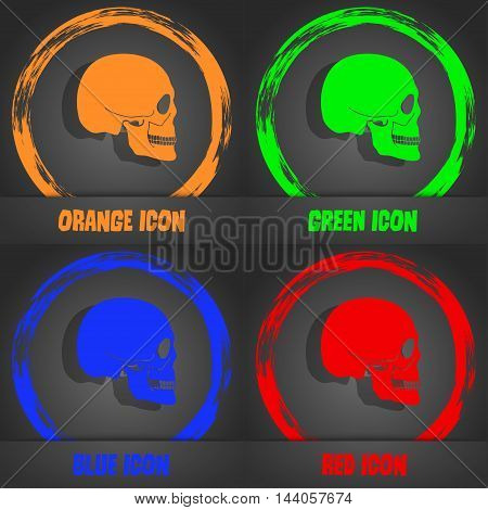 Skull Icon. Fashionable Modern Style. In The Orange, Green, Blue, Red Design. Vector