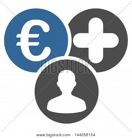 Euro Medical Expences icon. Vector style is bicolor flat iconic symbol with rounded angles, cobalt and gray colors, white background.