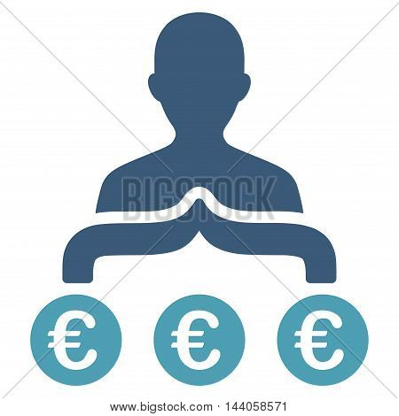 Euro Capitalist icon. Vector style is bicolor flat iconic symbol with rounded angles, cyan and blue colors, white background.