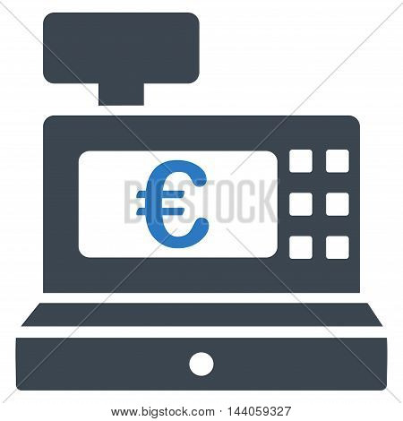 Euro Cashbox icon. Vector style is bicolor flat iconic symbol with rounded angles, smooth blue colors, white background.