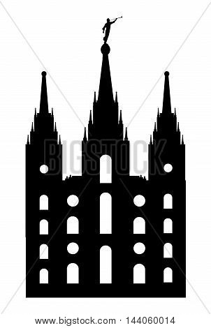 Mormon style temple drawing is silhouette over a white background