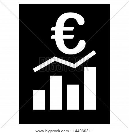 Euro Sale Report icon. Vector style is flat iconic symbol with rounded angles, black color, white background.
