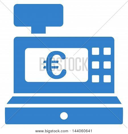 Euro Cashbox icon. Vector style is flat iconic symbol with rounded angles, cobalt color, white background.