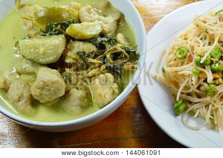 green curry fish ball with eggplant eat couple with rice vermicelli spicy salad