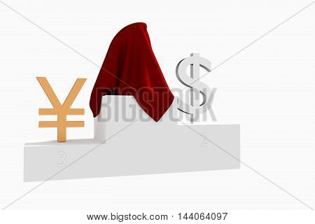 Hidden currency winner colored Dollar and Yen under red cloth 3D rendered illustration