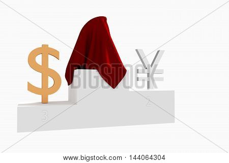 Hidden currency winner colored Yen and Dollar under red cloth 3D rendered illustration