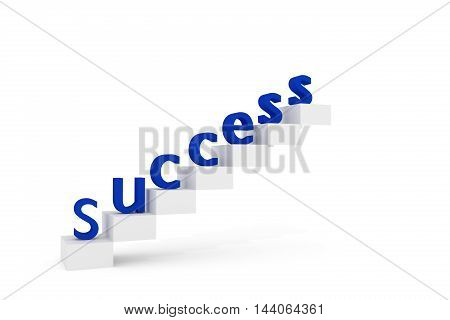 Blue Success on stairs 3D rendered illustration