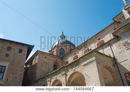 Cathedral in Urbino close up travel in Italy