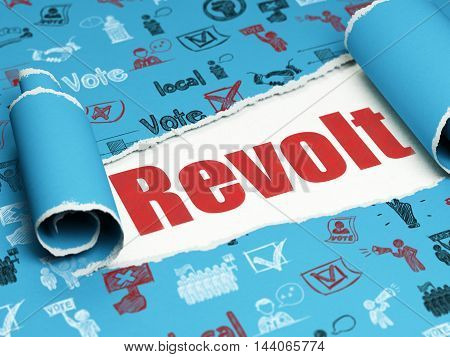 Political concept: red text Revolt under the curled piece of Blue torn paper with  Hand Drawn Politics Icons, 3D rendering