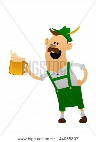 Vector illustration of cartoon oktoberfest man with beer isolated