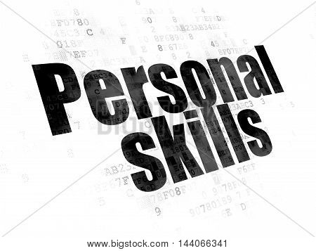 Education concept: Pixelated black text Personal Skills on Digital background