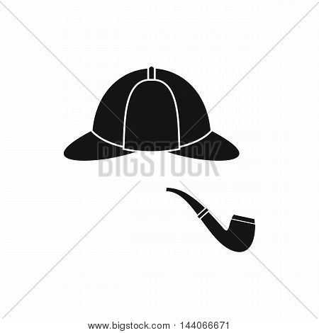 Hat and pipe icon in simple style isolated on white background. Headgear symbol