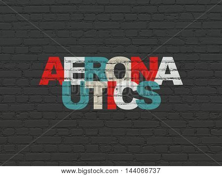 Science concept: Painted multicolor text Aeronautics on Black Brick wall background