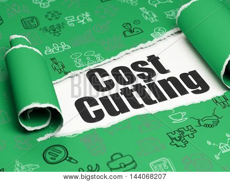 Finance concept: black text Cost Cutting under the curled piece of Green torn paper with  Hand Drawn Business Icons, 3D rendering