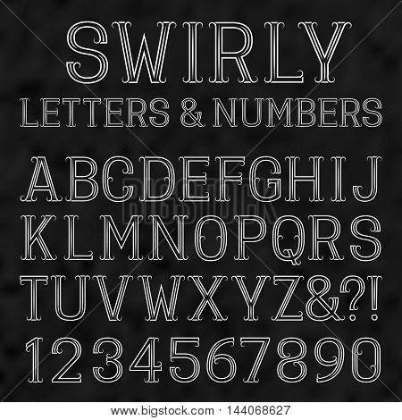 Swirly font. White capital letters and numbers of lines on a black textured background. Isolated latin alphabet with figures.