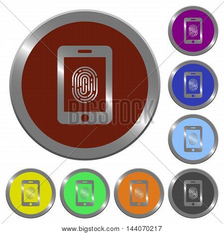 Set of color glossy coin-like smartphone fingerprint identification buttons