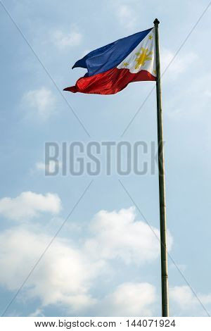 philippines filipino flag flying on flagpole in manila