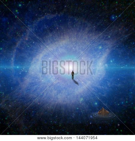 Figure of man walking to God's eye  3D Render   Elements of this image furnished by NASA
