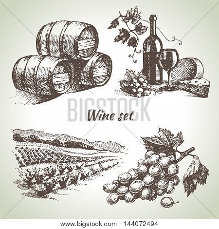 Sketch wine set. Hand drawn vector illustration