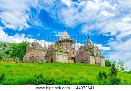 The Goshavank Monastery previously known as the Nor Ghetik located on the green hill in village Gosh next to Dilijan Armenia.