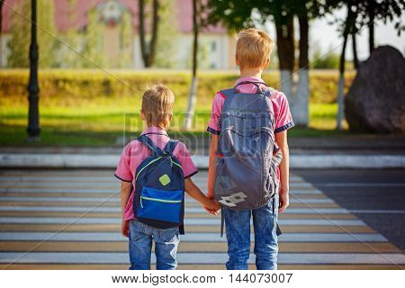 Two pretty boys with backpacks walking on the road holding. School time.