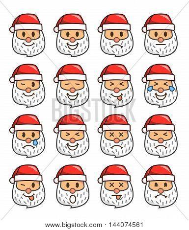 Set Of Santa Claus Emoticons. Santa Claus Emoji