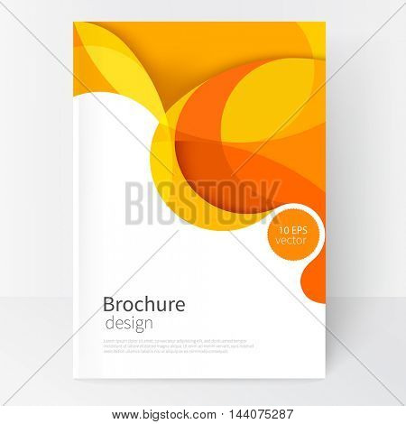 creative vector yellow and white business brochure. Cover design template. modern abstract background yellow and red waves .EPS 10