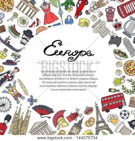 Cute decorative cover with hand drawn colored symbols of European countries - Italy, France, Spain, United Kingdom, Germany, Greece. Illustration on the theme of travel tourism