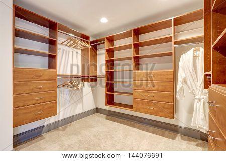 Large Walk In Closet With Carpet Floor.