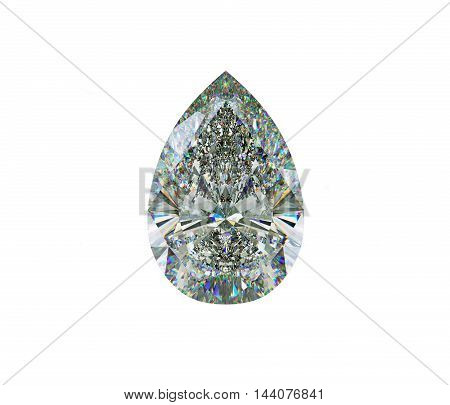 Large Pear Cut Diamond Isolated On White