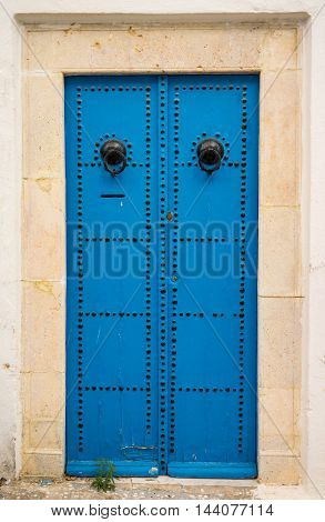 Aged Traditional Door With From Sidi Bou Said In Tunisia