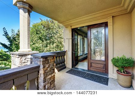Luxury House Exterior. Entrance Column Porch With Railings.