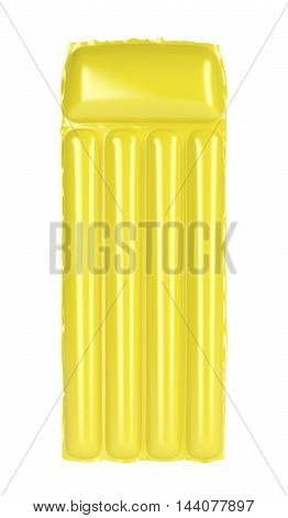 Yellow inflatable beach mattress isolated on white background, 3D illustration