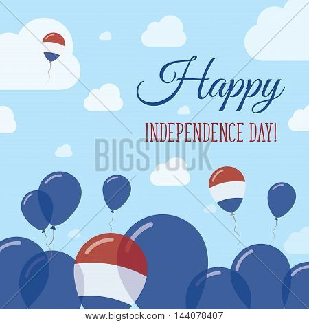 Netherlands Independence Day Flat Patriotic Design. Dutch Flag Balloons. Happy National Day Vector C