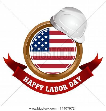 Labor Day design. Round medallion on a chain with an American flag and inscription - Happy Labor Day. Vector illustration