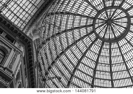 Multiple glass windows as part of domed ceiling. Black and white horizontal format with metallic and glass dome structure detail under blue sky.