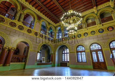 Busteni Romania - June 10: The Cantacuzino Palace June 10 2016 in Busteni Romania. Inner view of the Cantacuzino Palace that was build by Gheorghe Grigore Cantacuzino alias