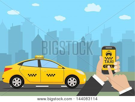 Phone with interface taxi on a screen on a background the city. Mobile app for booking service. vector illustration in simple flat design for business, info graphic, banner, presentations.