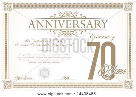 Anniversary retro vintage background vector 70 years
