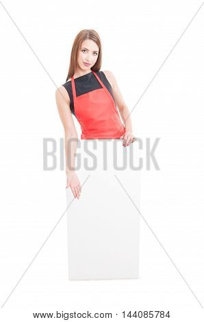 Hypermarket Seller Presenting Something On Blank Placard
